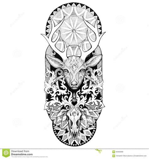 tatouages tete de cerfs communs avec  mandala