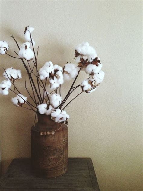rustic  water   cotton stems rustic home decor