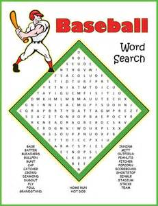 Free Printable Baseball Word Search Puzzles