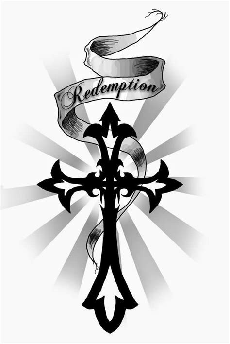 Redemption Banner And Tribal Cross Tattoo Design | Tribal