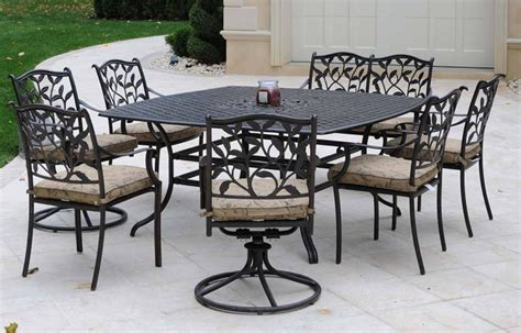 patio furniture dining set cast aluminum 9pc ivyland