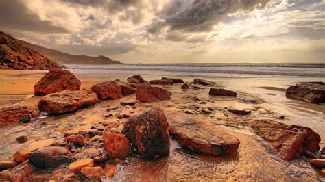 piedras rocas atardecer paisaje fondos de pantalla hd