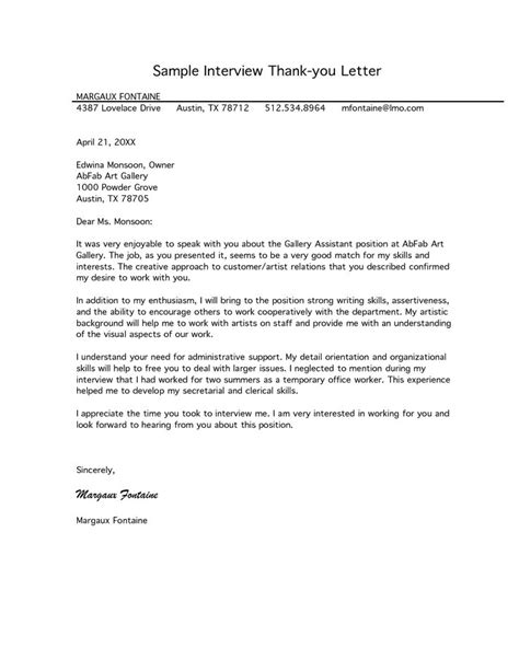 A Thank You Letter For An by Free Letter Of Interest Templates Sle Thank
