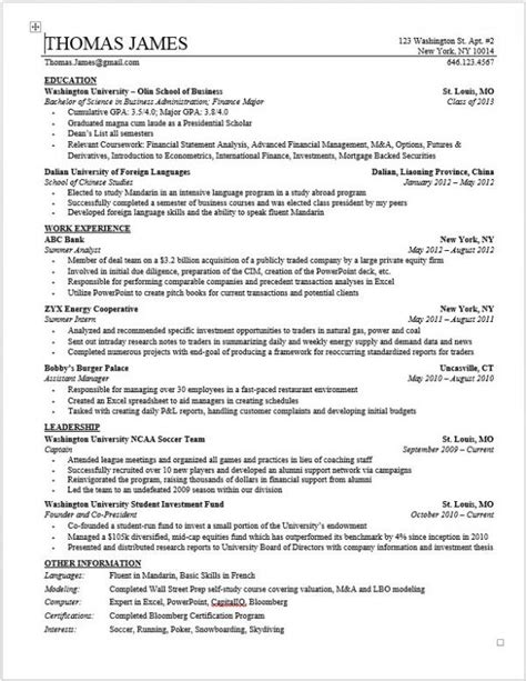 Model Resumes For Bank by Wso Investment Banking Resume Template For College Stud