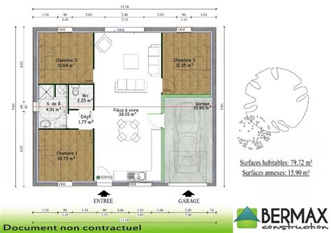 plan maison 3 chambre plain pied plan maison plain pied 3 chambres avec garage