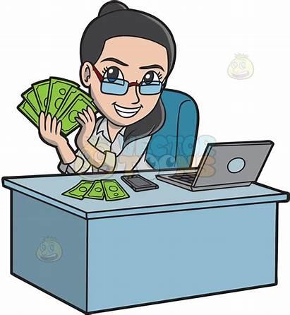 Money Clipart Making Earn Woman Happy Cartoon