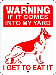 German Shepherd Guard Dog Aluminum Sign Warning D2668 ...