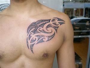 Maori Tribal Tattoo On Chest