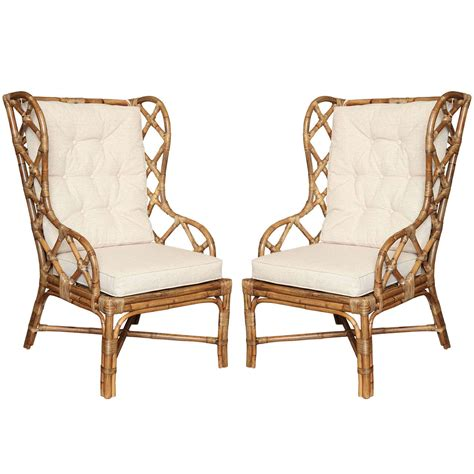pair of rattan wingback chairs c 1960 at 1stdibs