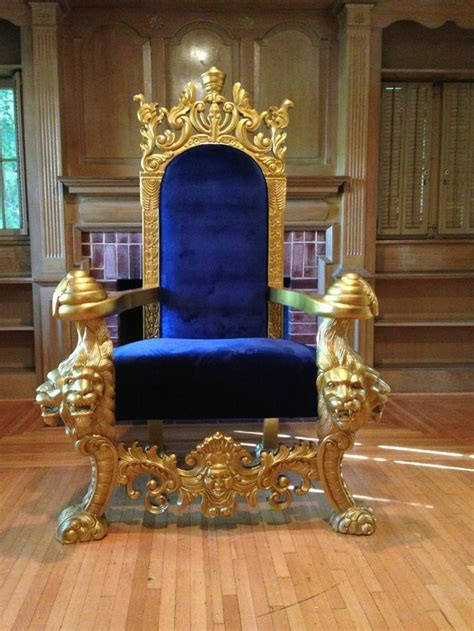 large gold blue lions head king chair throne loveseat
