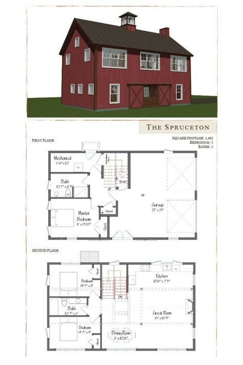 Barn Style Home Floor Plans by Spruceton Barn Home Floor Plans Garage Apartment Plans