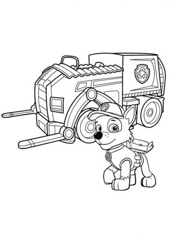 Paw Patrol Rocky's Recycling Truck coloring page Free