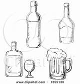 Liquor Beer Bottles Clipart Mug Vector Illustration Bottle Sketched Royalty Whisky Tradition Sm Corkscrew Coloring Pages Template Sketch sketch template