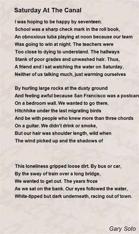 saturday   canal poem  gary soto poem hunter