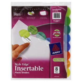 Avery Ave11201 Insertable Style Edge Tab Plastic Dividers