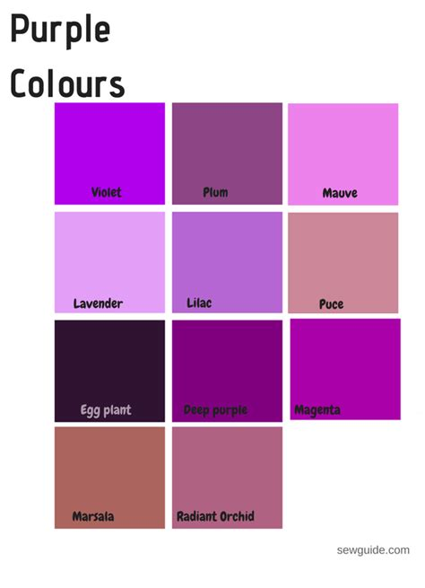 purple colors names color names in fashion design an easy reference guide