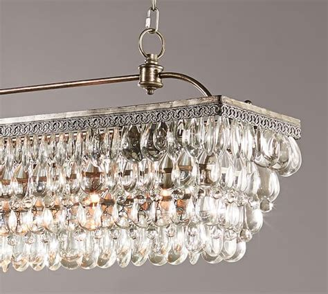 drop chandeliers clarissa drop rectangular chandelier pottery barn
