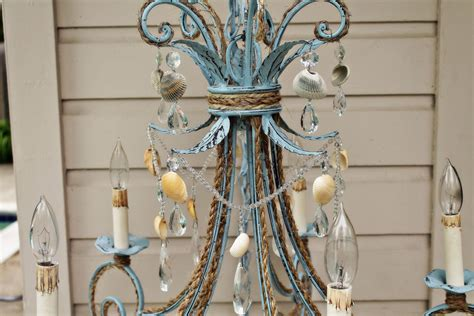 chandelier shabby chic shabby chic coastal blue seashell chandelier