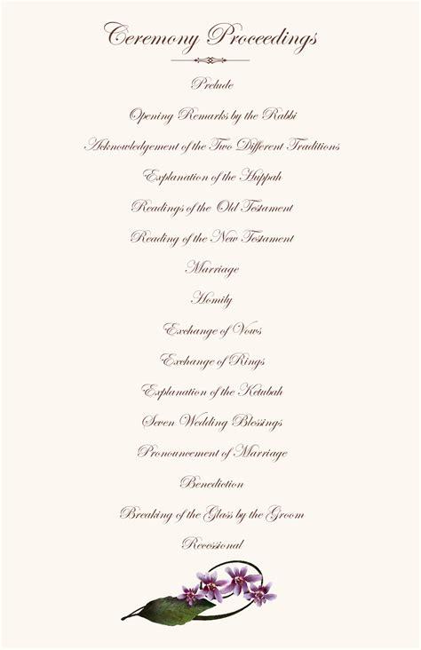 Orchid Wedding Program Exles Wedding Program Wording Wedding Ceremony Programs Wedding