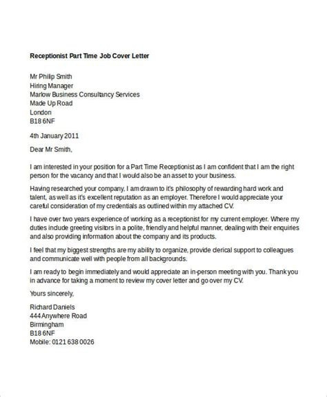Part Of A Cover Letter by 11 Part Time Cover Letter Templates Free Sle