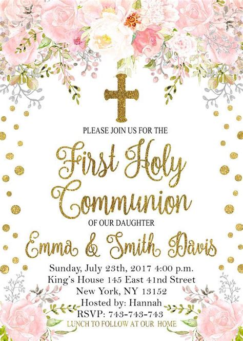 First Holy Communion invitation Girl First Communion