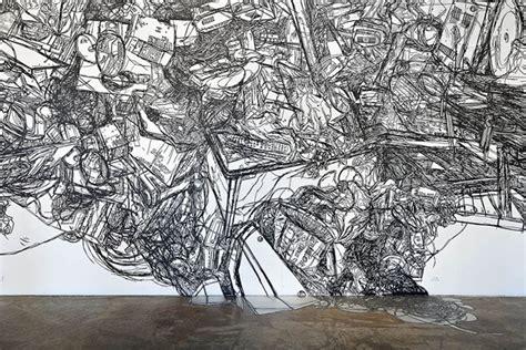 masking tape drawings  artist heeseop yoon booooooom