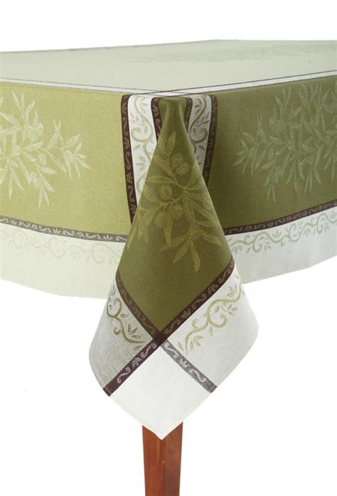 french jacquard table runner olive vert french jacquard tablecloth occitan imports