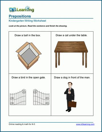 location preposition worksheets for preschool and