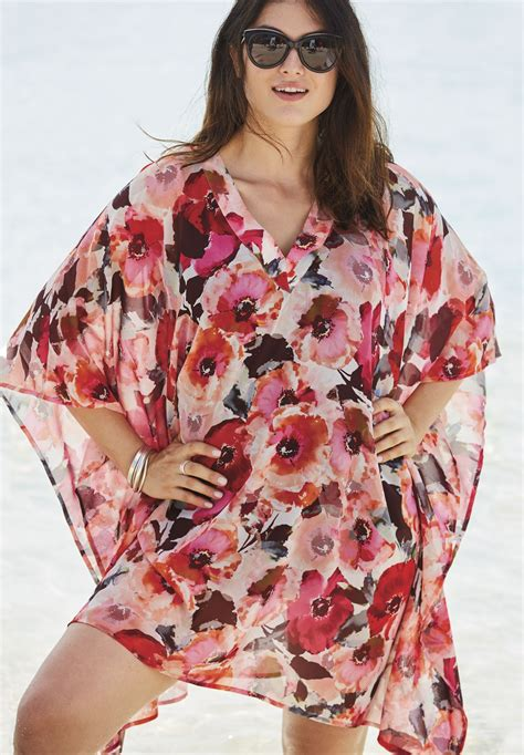 swim caftan cover up caftan beach cover up plus size swim woman within