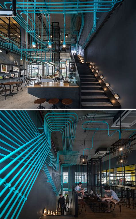 turquoise electrical conduit   design feature running