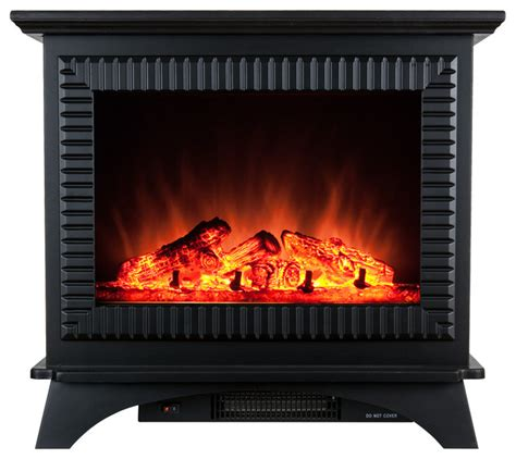 northwest glass panel electric fireplace heater  black
