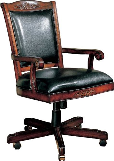 coaster traditional style office chair black leather and