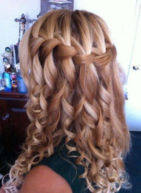 Braided And Curled Hairstyles by Curly Waterfall Braid Hairstyle 2013