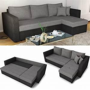 Couch Mit Großer Liegefläche : ecksofa mit schlaffunktion grau schwarz ~ Bigdaddyawards.com Haus und Dekorationen