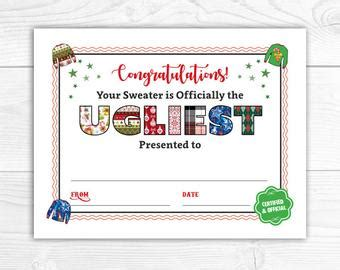 printable ugly sweater certificate no download certificate etsy