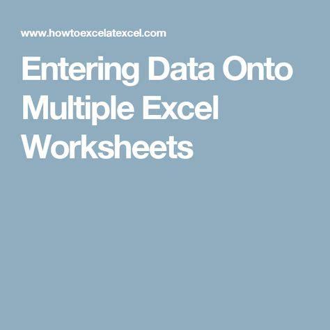 entering data  multiple excel worksheets dateneingabe