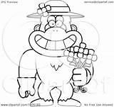 Snowman Monkey Yeti Abominable Spring Cartoon Holding Clipart Flowers Outline Illustration Daisy Gloves Wearing Hat Grinning Happy Vector Lineart Gardening sketch template