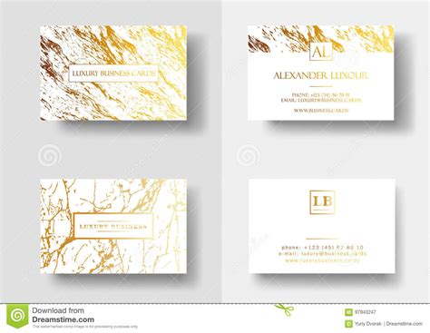 elegant business cards  marble texture  gold detail