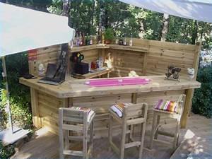 Bar Exterieur De Jardin : blouissant salon de jardin en palette li e bar en bois ~ Dailycaller-alerts.com Idées de Décoration