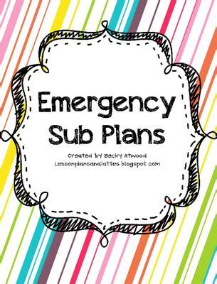 emergency substitute lesson plans template free free emergency sub plans from lessonplansandlattes on