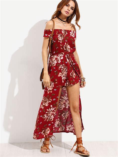 12760 Low Shoulder Flower Dress burgundy flower print the shoulder high low romper