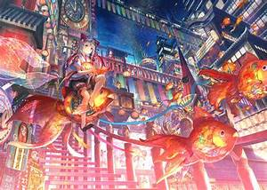 Fish, Anime, Girls, China, Anime, Original, Characters, Fantasy, Art, Wallpapers, Hd, Desktop, And