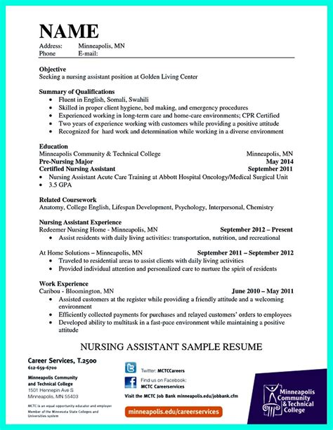 Cna Resume Template by Quot Mention Great And Convincing Skills Quot Said Cna Resume Sle
