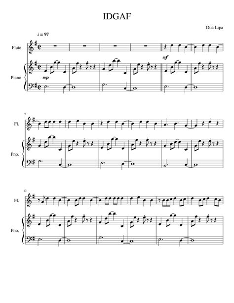 Idgaf Sheet Music For Flute Piano Download Free In Pdf Or