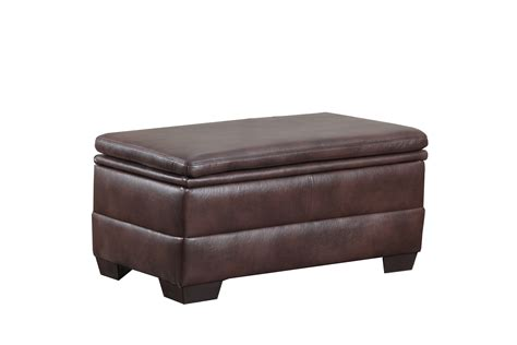 simmons upholstery brown bonded leather storage ottoman