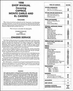 1986 Chevy Big Car Repair Shop Manual Original Gmc Caballero