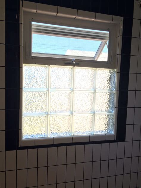 black white bathroom remodel glass block awning window top shower window