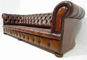 Big Sofa Vintage : a good large long antique style deep seated tan brown chesterfield sofa ebay ~ Markanthonyermac.com Haus und Dekorationen