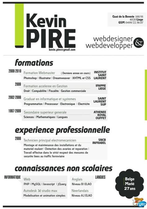 Original Resumes Designs by Cv Design Une Collection De Cv Graphiques Pour