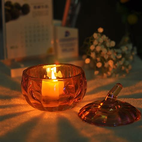 pumpkin candle holder pumpkin shaped ion plating glass candle holder with lid